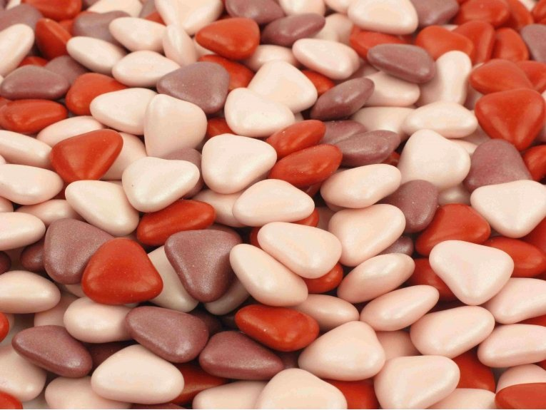 Dragées chocolat coeurs rouge rose poudre burgundy