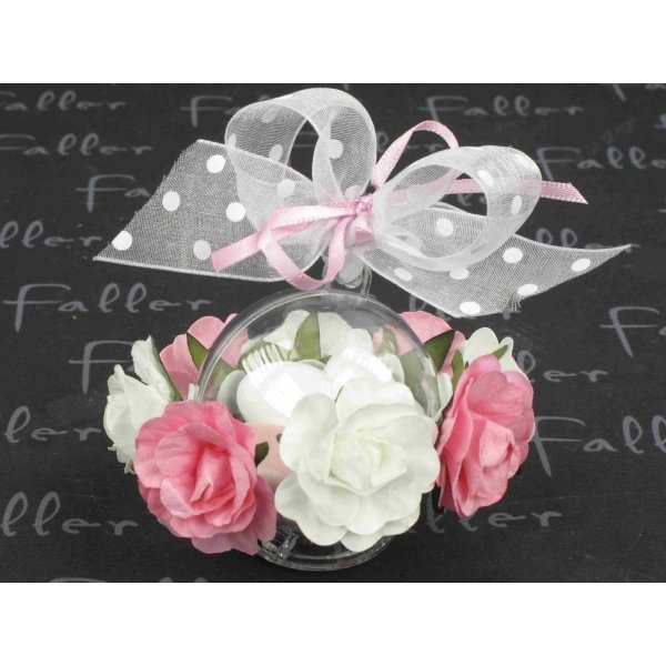 Préférence à fleurs roses et blanche et dragées mariage KJ41