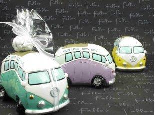 Tirelire Volkswagen combi vert et dragées mariage