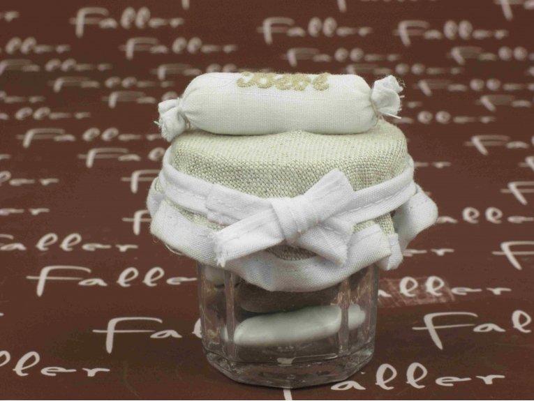 Pot à dragées baptême garçon et couvercle tissu avec traversin