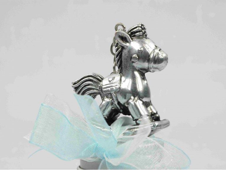 Dragées garçon dans bocal avec porte-clés cheval