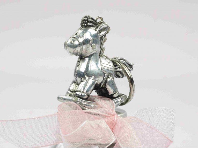 Dragées fille dans bocal avec porte-clés cheval