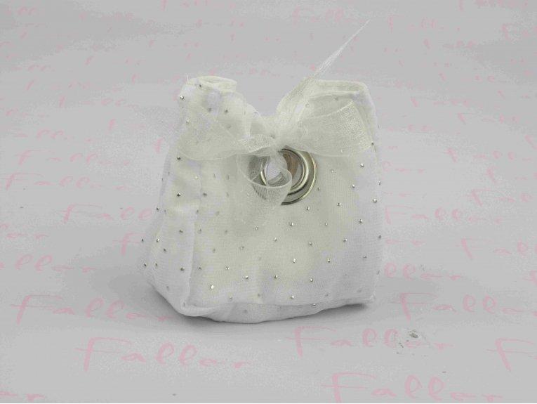 Sac à dragées blanc à strass argenté et ruban voile