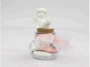Dragées fille dans bocal avec petit ange