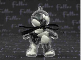 Garcon en plexi avec coeur dragees noir et blanc