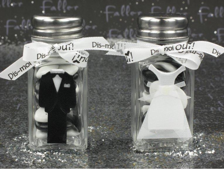 Boite dragées mariage costume et robe de mariée