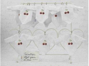 Body blanc imprimé cerises rouges pochon de baptême
