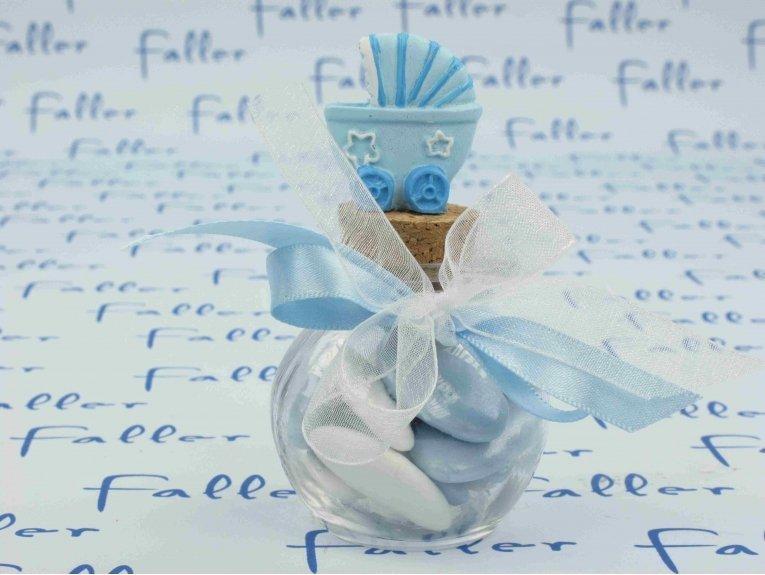 Poussette bleue sur bocal à dragées naissance garçon