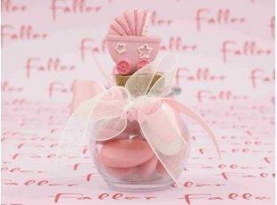 Poussette rose girly sur bocal à dragées naissance fille