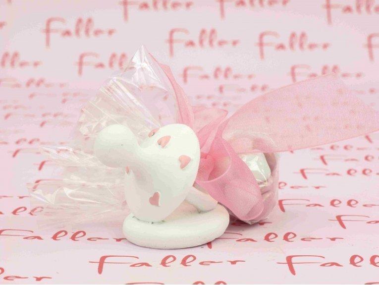 Tétine fille cœurs rose avec dragées chocolat