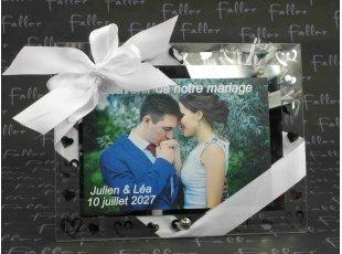 Cadre photo de votre mariage cœurs argentés