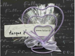 Triple coeur porte nom violet