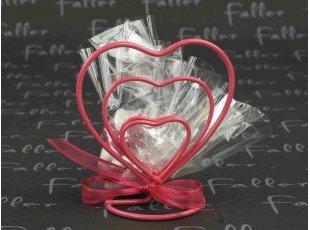 Triple coeur porte nom fuschia