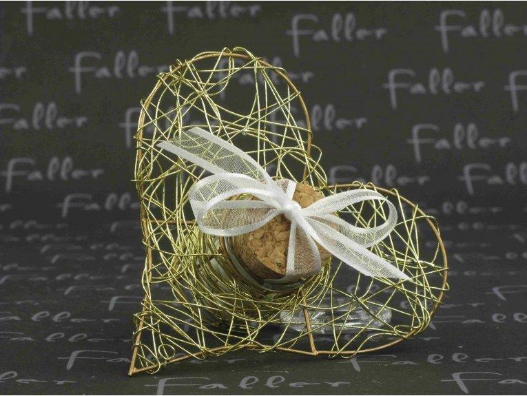 Éprouvette cœur doré avec dragées mariage