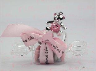 Bonbon plexi dragées ours rose