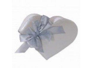 Livre d'or mariage coeur argent noeud satiné