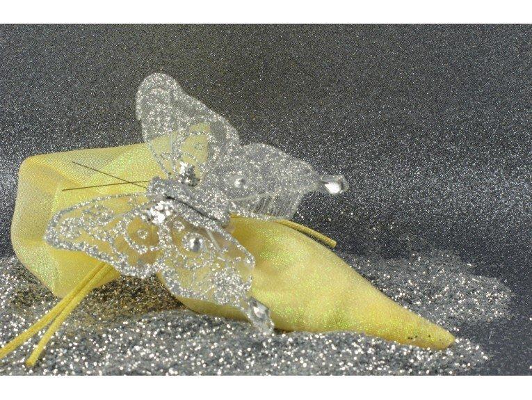Pochon à dragées doré et papillon argenté