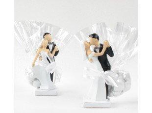 Figurines de mariés en noir & blanc