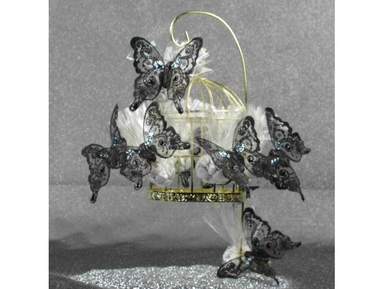 Cage à oiseau dorée papillons noirs souvenir mariage