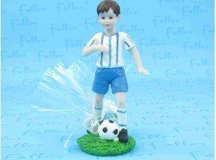 Grand footballeur bleu avec pochon dragees
