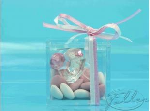 Tétine verre rose dans boite plexi avec dragées naissance