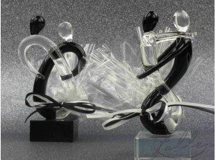 Couple de mariés en verre noir & transparent avec dragées