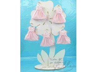 Dragées baptême dans robe rose à pois blanc