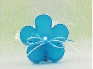 Fleur led turquoise avec dragées baptême