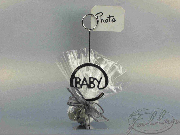 Porte-photo baby argenté avec dragées coeurs