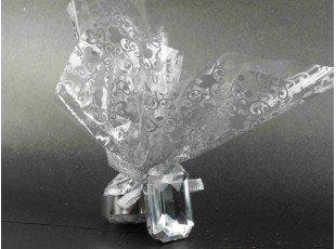 Rond de serviette diamant avec pochon dragees mariage