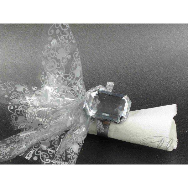 ... diamètre du ronde de serviette 4cm - diamant 4x3cm Couleur : Argent