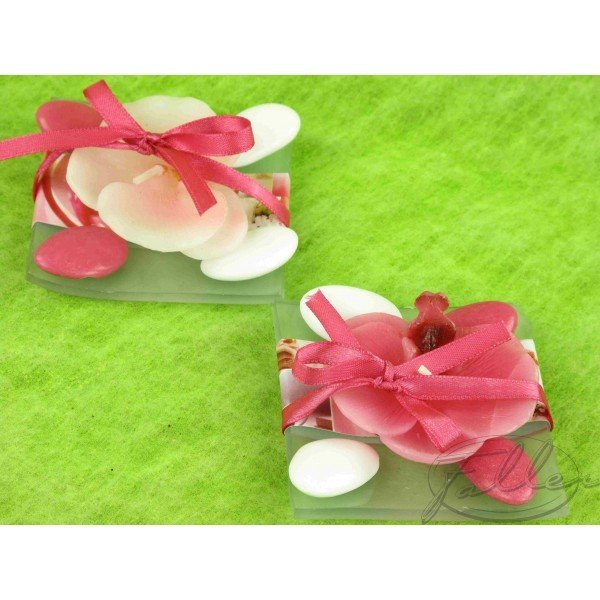 Bougie orchidee sur assiette dragees mariage - Decoration dragee mariage ...