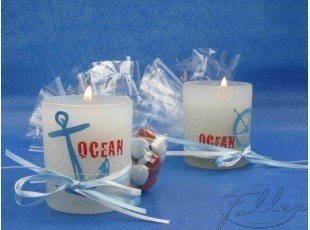 Bougies thèmes marin avec dragées coeurs
