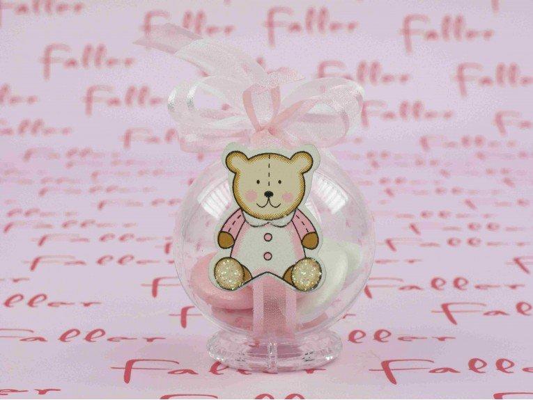 Dragées fille dans boule plexi ourson rose