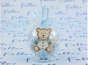 Boule plexi ourson bleu avec dragées garçon