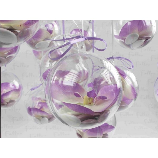 Orchidee lilas avec boule a dragees de mariage - Deco mariage orchidee ...