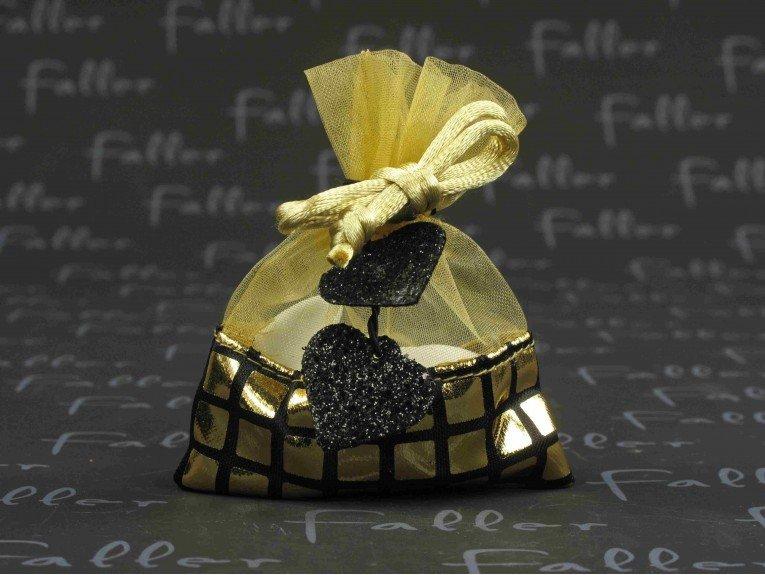 Bourse à dragées or avec déco coeur noir