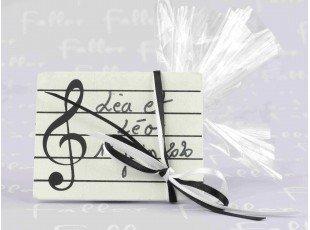 Porte-nom musique noir et blanc avec pochon dragees