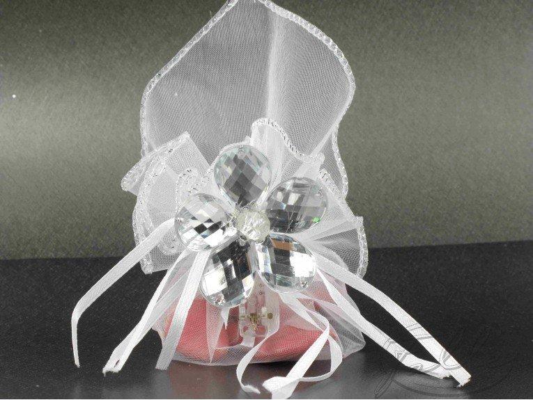 Pochon magique avec dragees et fleur cristal