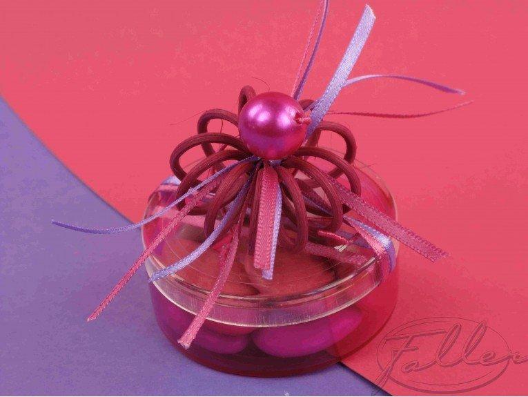 Boite à dragées ronde thème fuchsia baptême fille