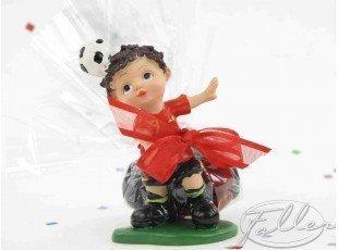 Footballeur rouge avec dragées (baptême garçon)