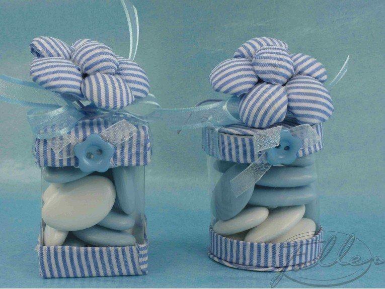 Boite à dragées chocolat rayée bleu avec fleurs