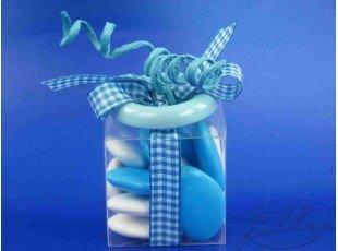 Boite plexi avec dragees et bouton turquoise
