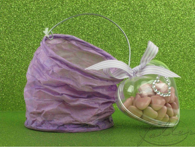 Lampion lilas et dragees mariage