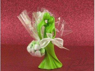 Dragées et figurines couple de mariés anis
