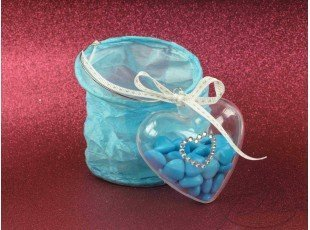 Lampion papier turquoise avec dragees mariage