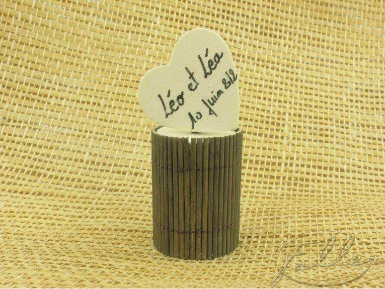 Boite à dragées en bambou taupe
