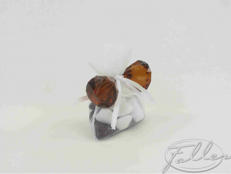 Petits diamants marron avec dragées de mariage