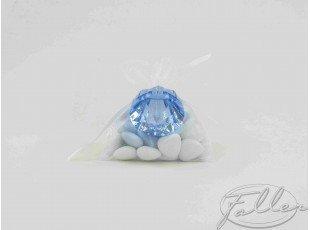 Grand diamant bleu et son pochon dragees mariage