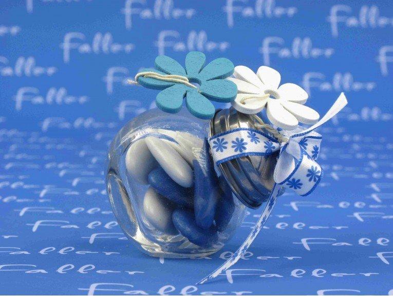 Mini bocal à bonbon thème fleurs marine et dragées